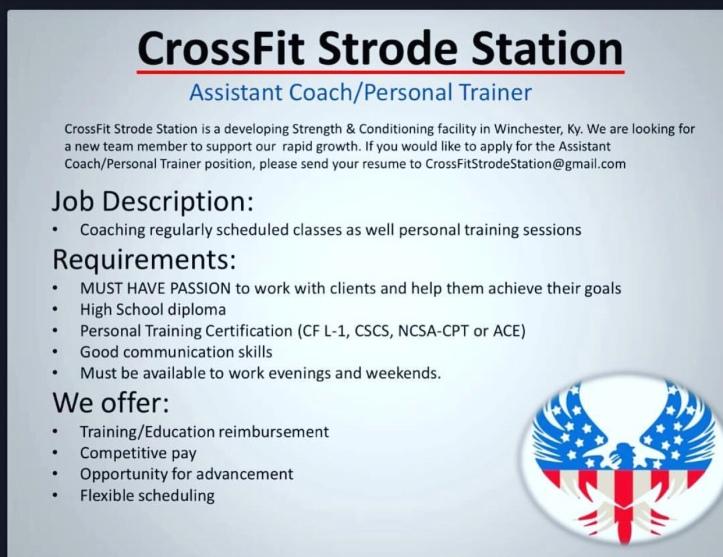 We\'re Hiring – CrossFit Strode Station